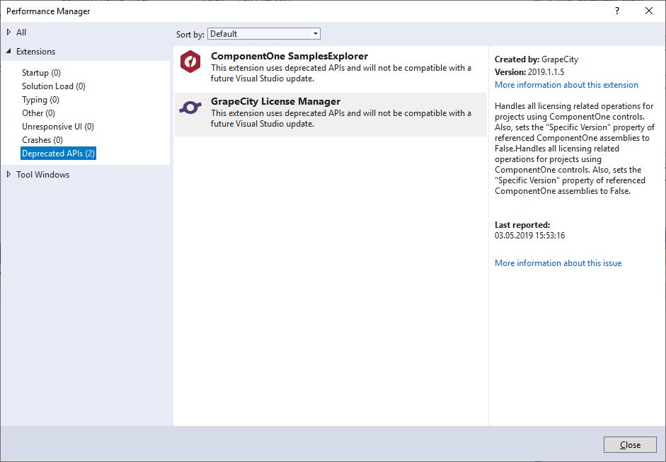 C1Studio and Visual Studio 2019: deprecated API | WinForms