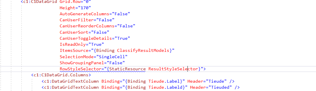 StyleSelector Property for C1DataGrid | WPF Edition