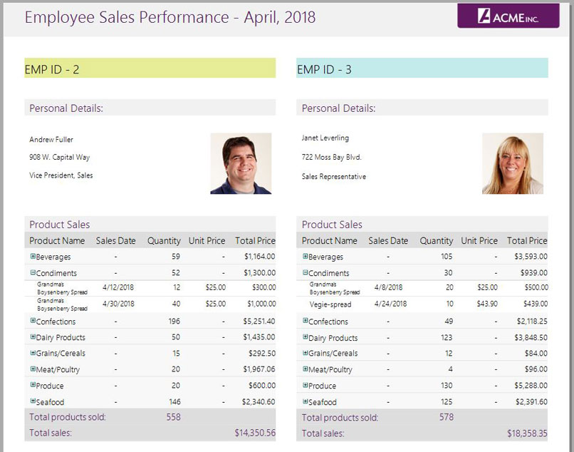 Use DataRegions to Create Side-by-Side Reports