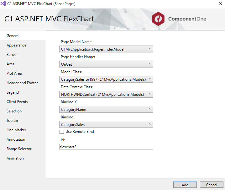 Set properties for MVC chart