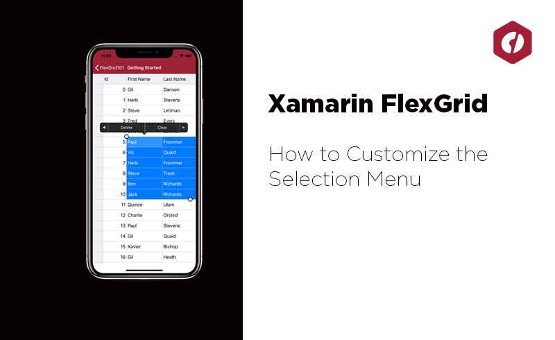 Customize the Selection Menu of the new Xamarin FlexGrid
