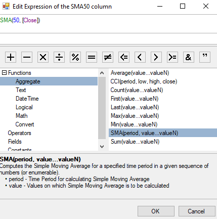 Description of the Custom Function in ExpressionEditorPanel
