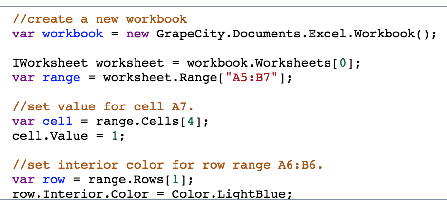 Cell ranges in Excel API