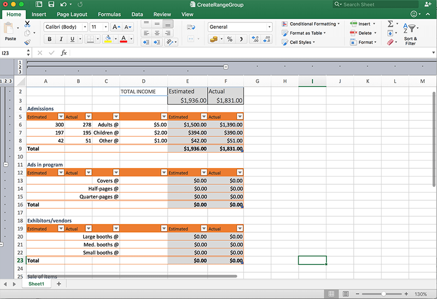 Group your spreadsheet data