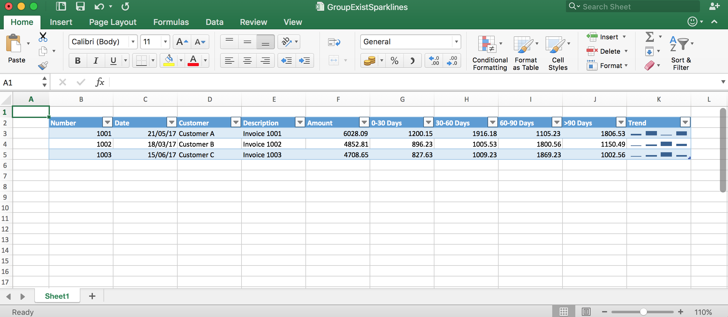 Use sparklines with your Excel API