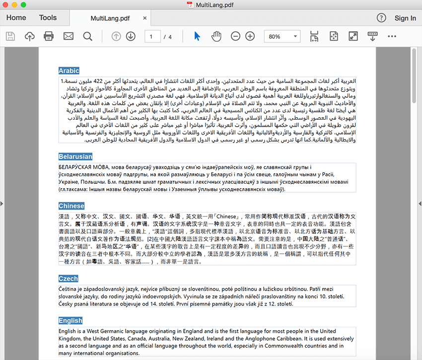 Multiple language support in PDF API