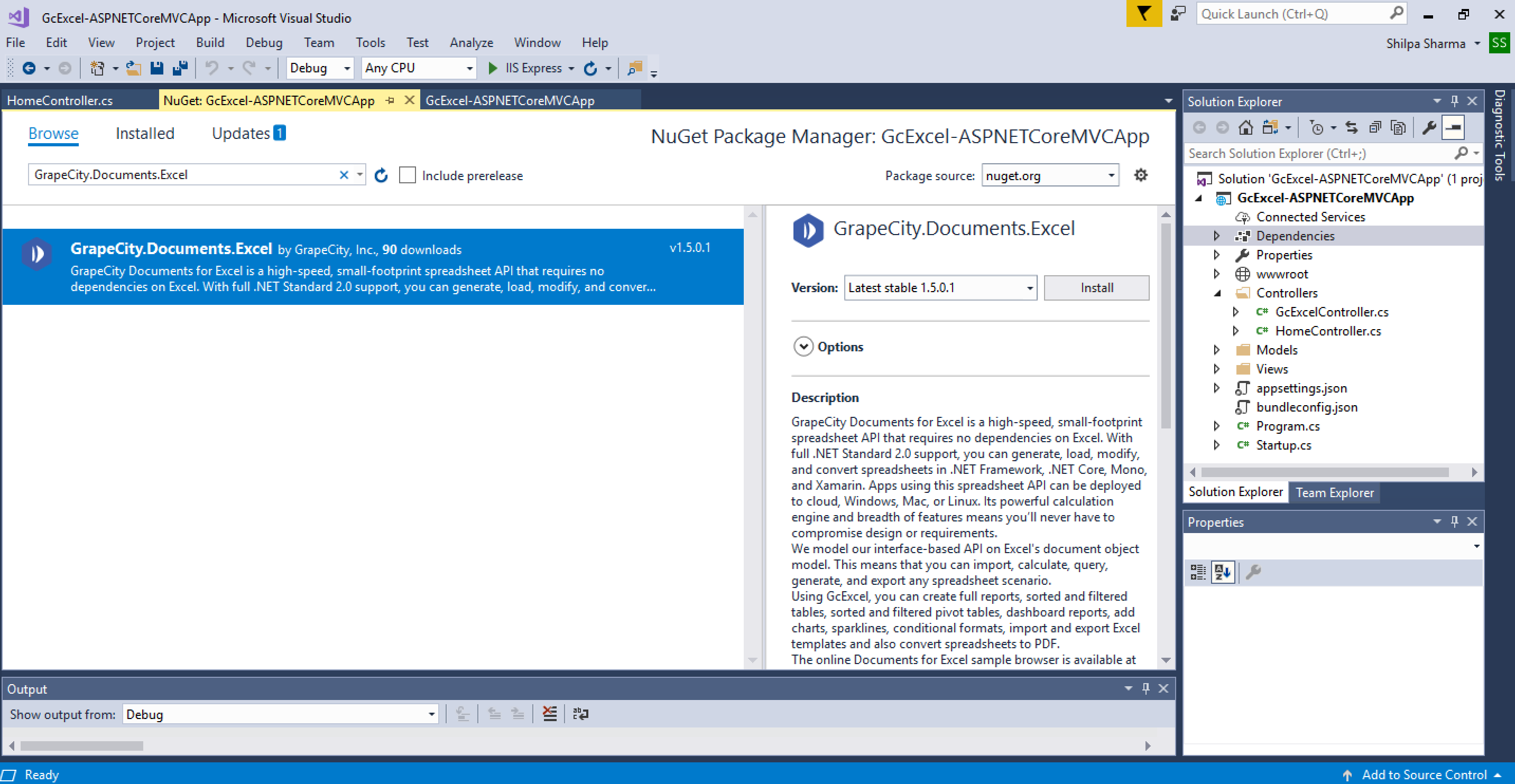 GcExcel NuGet Package Manager