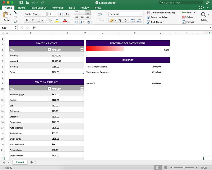 Create an Excel Spreadsheet