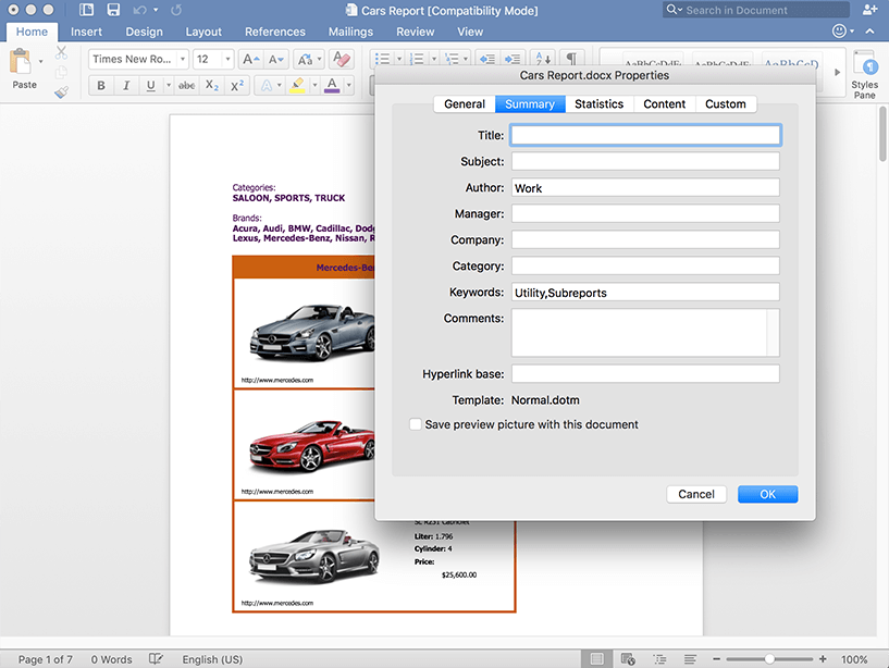 Setting page margins in the document