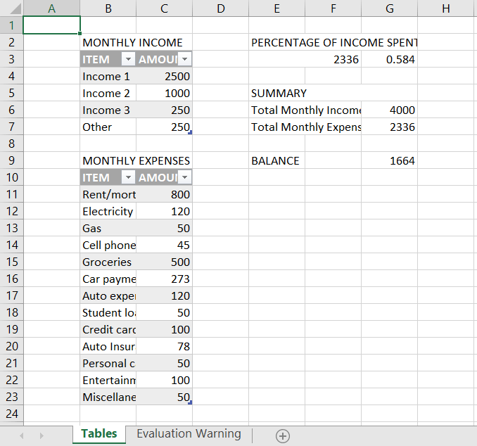 Set formulas for the tables
