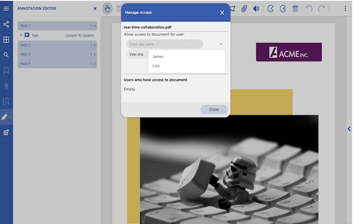 Example of setting up collaborators to work on editing a PDF with GcPdfViewer by GrapeCity