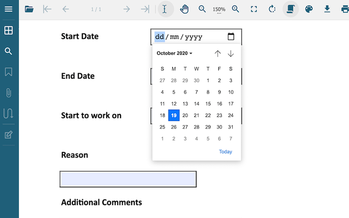 Example of PDF form with date/time field added by GcExcel .NET Excel Library and GcPdfViewer combined by GrapeCity