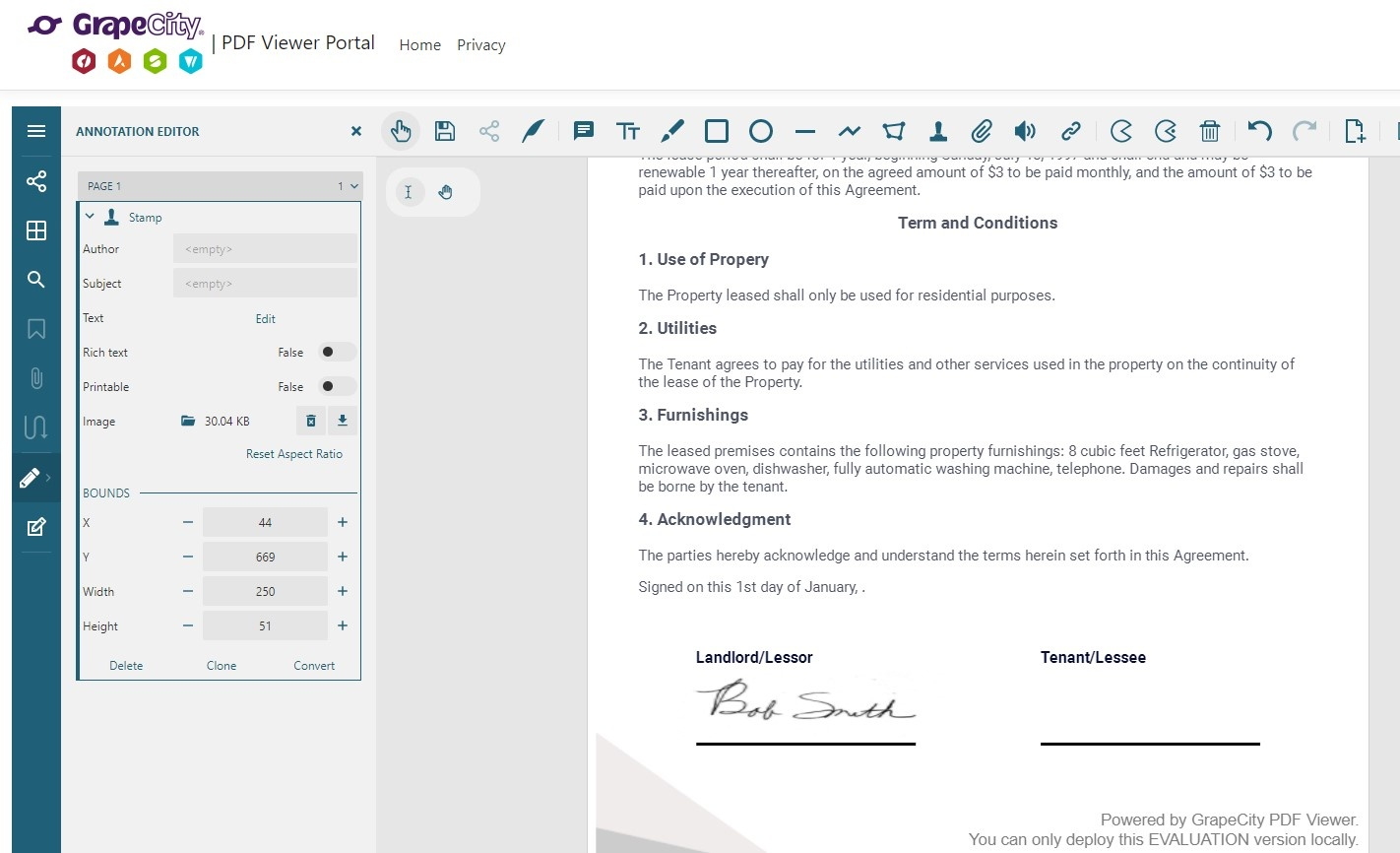 A completed document with Signature provided by GcPdfViewer Javascript Signature Tool