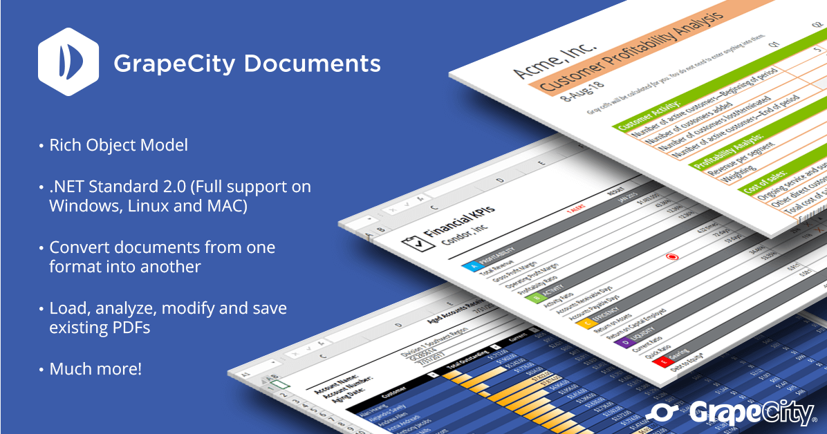 Introducing GrapeCity Documents, high-speed APIs for Excel and PDF