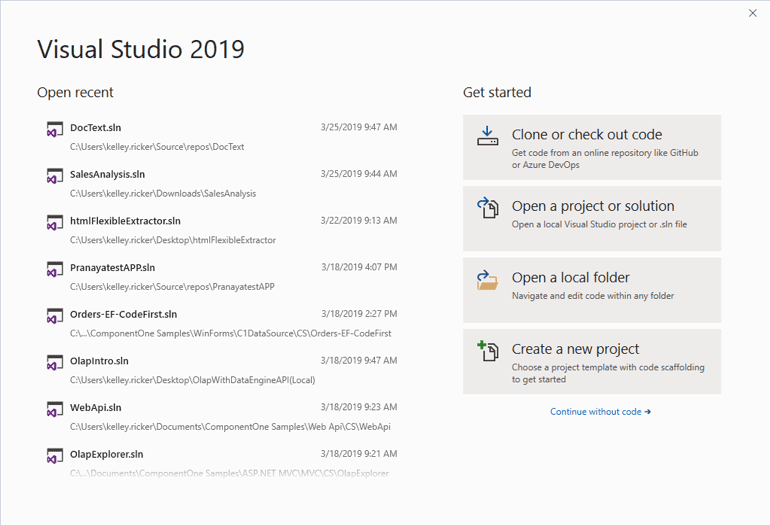 New Visual Studio 2019 IDE