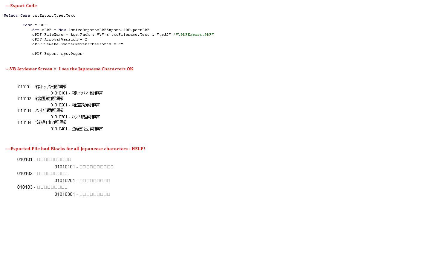 PDF Export Japanese or multi-byte language Issue! Help