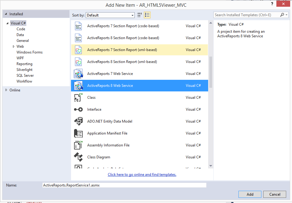ActiveReports HTML5 Viewer in ASP NET MVC