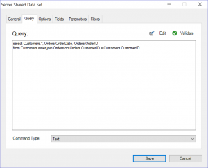 Shared Data Set Dialog