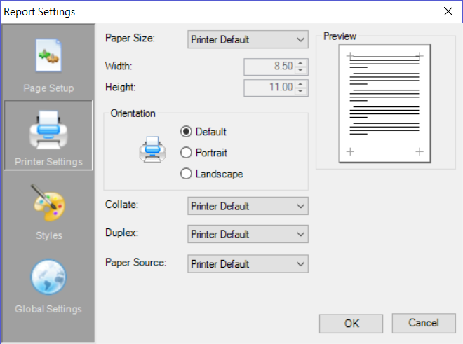 Report Settings dialog