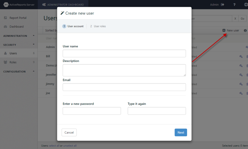 Create New User dialog