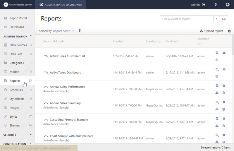 The Reports list in the Admin Dashboard