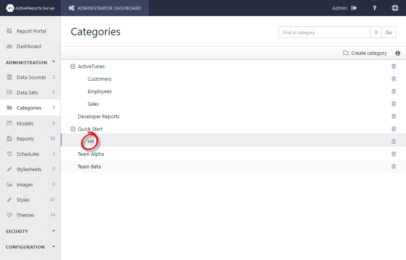 The Categories page showing the HR category nested in the Quick Start category