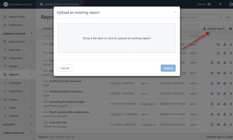 Upload an existing report dialog