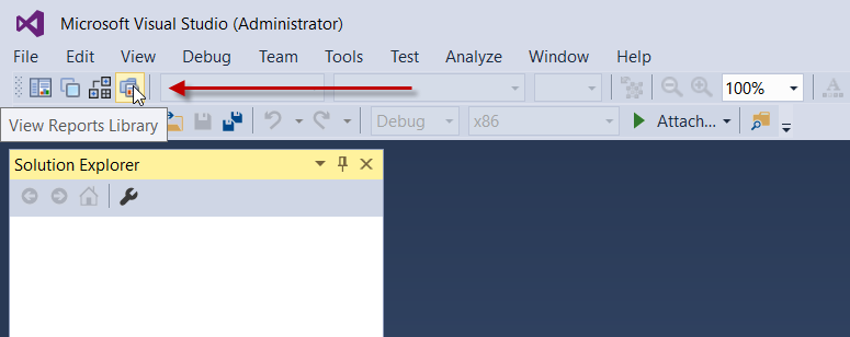 View Reports Library button in the ActiveReports 10 toolbar in Visual Studio
