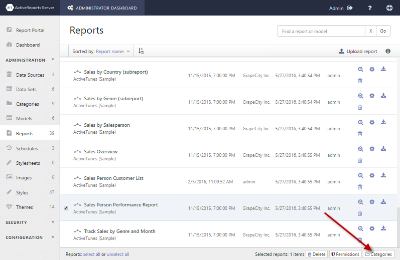 Sales Person Performance report selected to reveal the Categories button