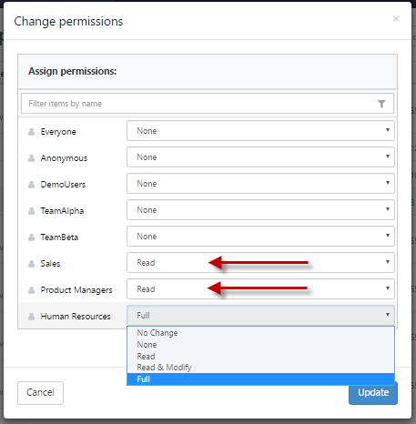 Change permissions dialog with Read set for two roles and Full set for HR role.