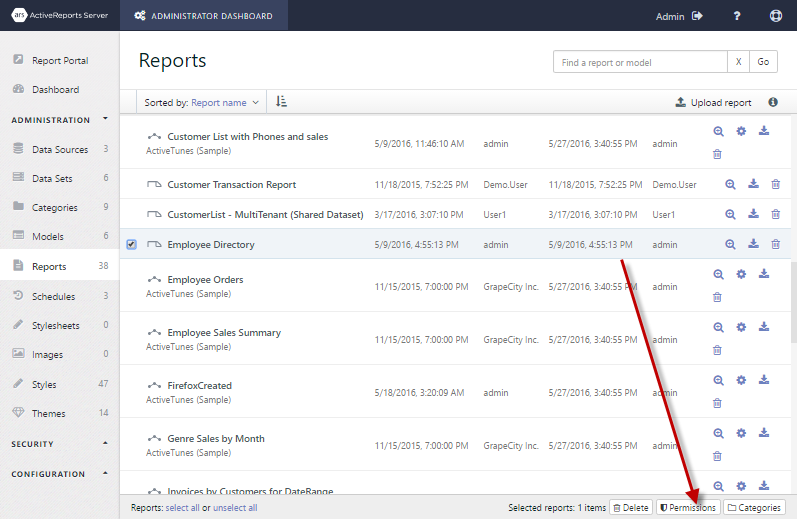 Employee Directory report selected to show the Permissions button