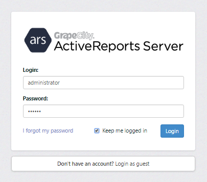 Logging in to the Report Portal with the admin account.