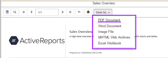 The viewer's Save As menu is dropped down to show PDF, Word, Image, MHTML, and Excel menu items.