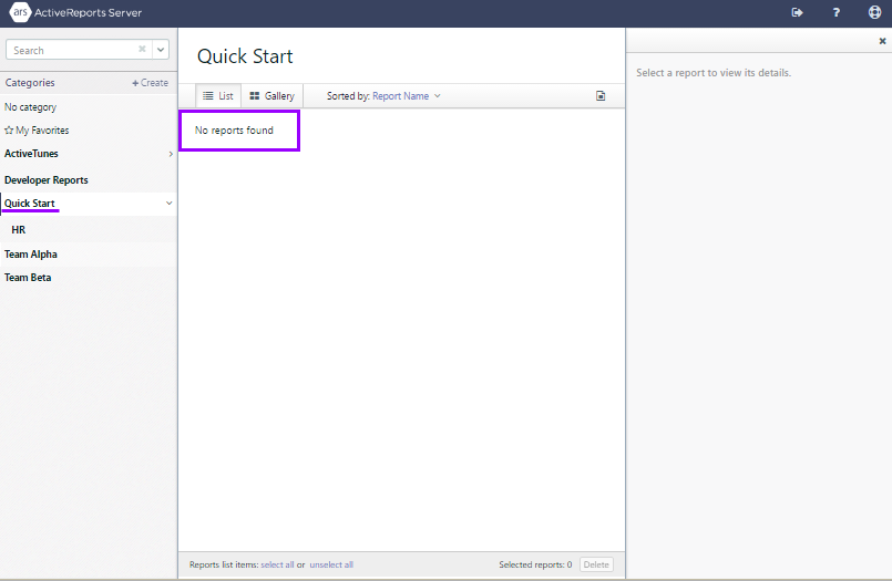 Report Portal Quick Start category as it appears when logged in as a member of HR
