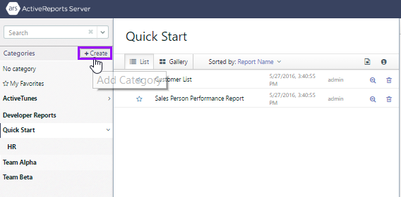 Logged in as Sales role user joe, the Quick Start system category is selected, and the Create button is highlighted.
