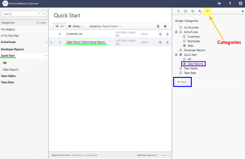With a report in the Quick Start category selected, the Categories tab is selected in the right pane, and the Sales Reports category is selected.