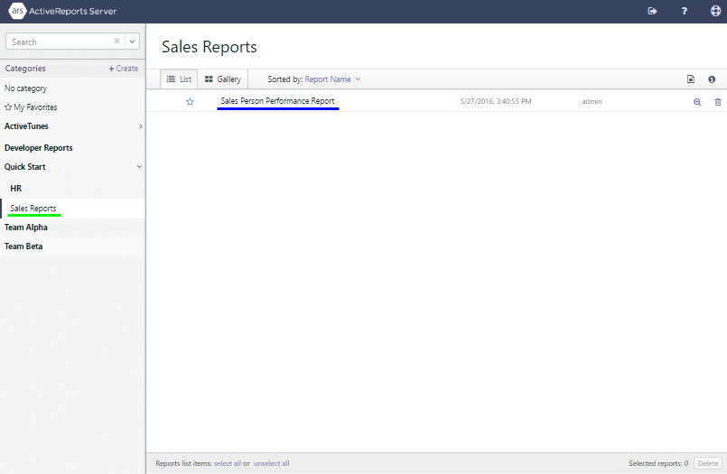 Confirming that the Sales Person Performance Report appears in the Sales Reports user category.