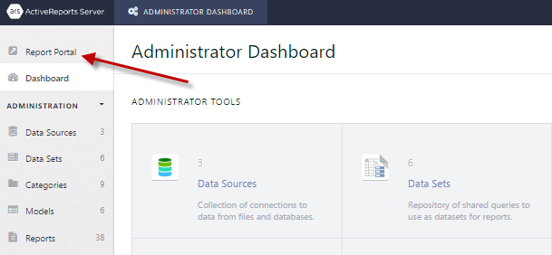 Arrow pointing out how to access the Report Portal from the Administrator Dashboard.