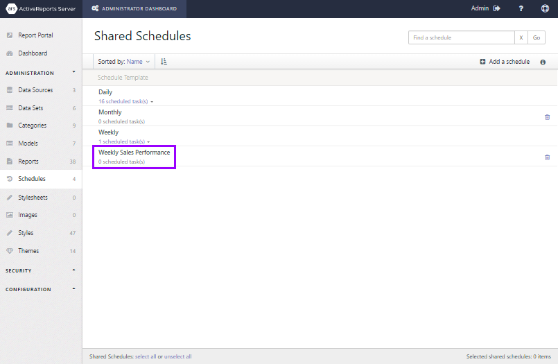 The Shared Schedules list showing the new schedule after it's added