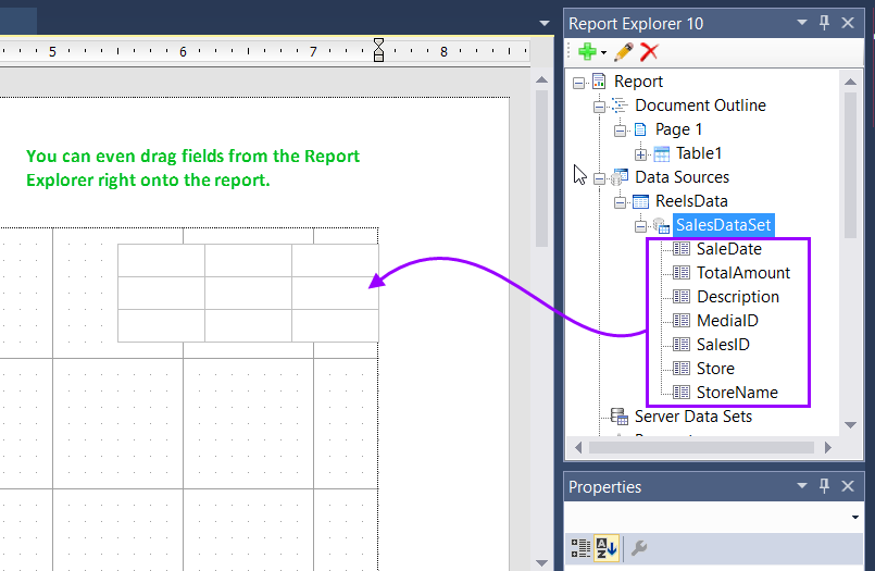 You can even drag fields from the Report Explorer right onto the report.