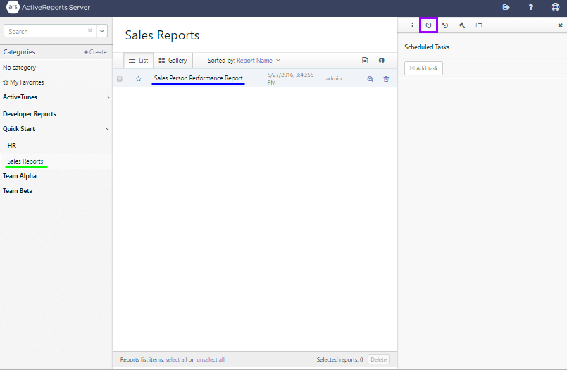 The Report Portal is open to the Sales Reports user category with the Sales Person Performance report selected, and the Schedule tab open to the right.