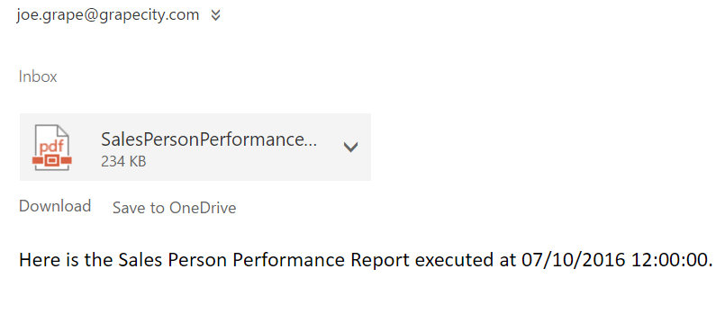 An example of the email sent from ActiveReports Server to the email address specified in the schedule.