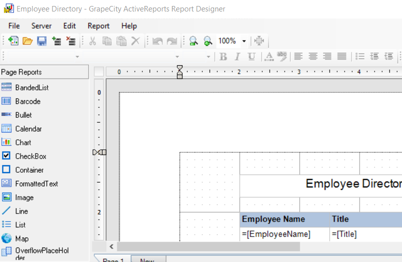 The report as it appears in the Designer.