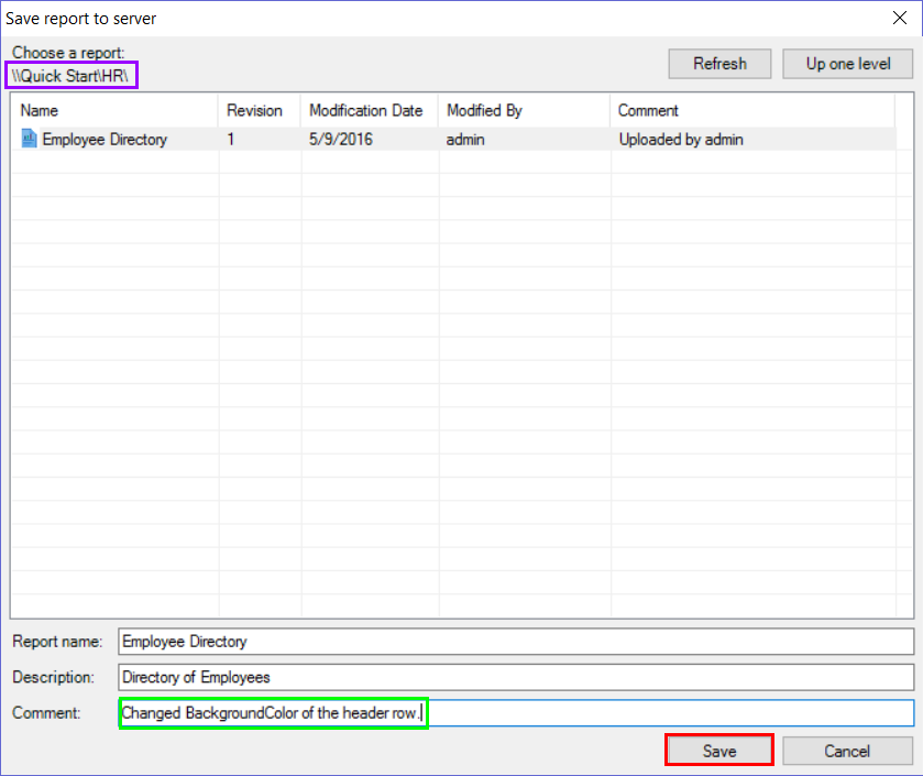 The Save report to server dialog with the folder path, comment, and Save button highlighted.