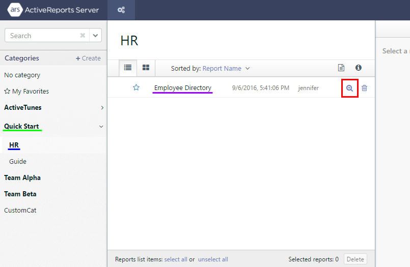 The Report Portal open to the HR category with the report highlighted.
