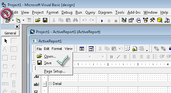 Shows the ActiveReports Designer in Visual Basic 6 with the ActiveReports File menu open.