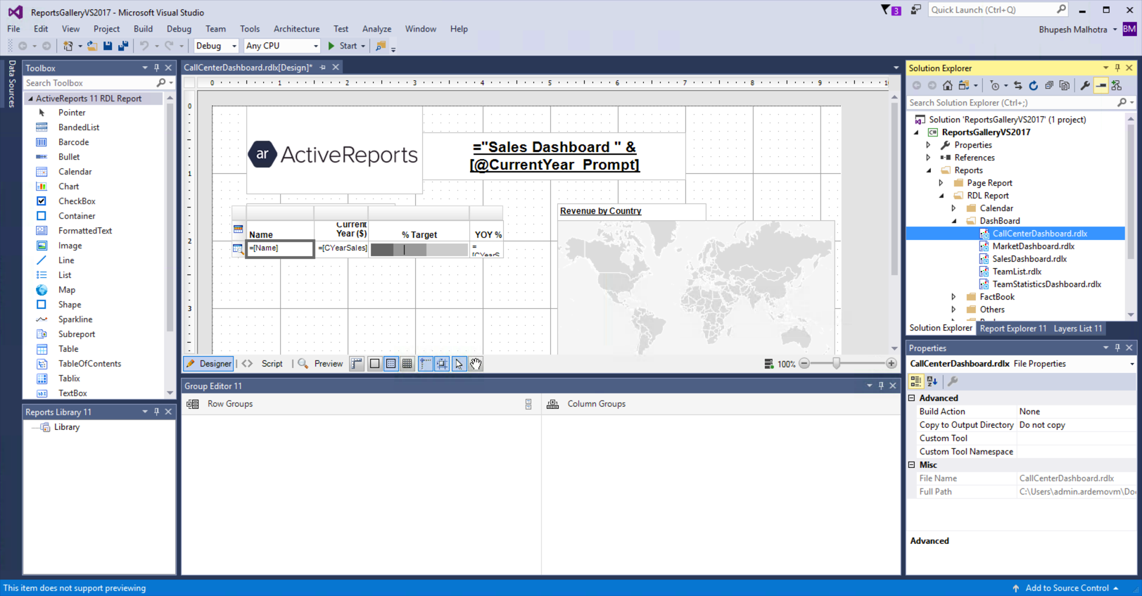 ActiveReports in the Visual Studio 2017 IDE