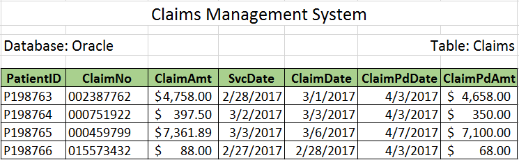 Claims Management System data