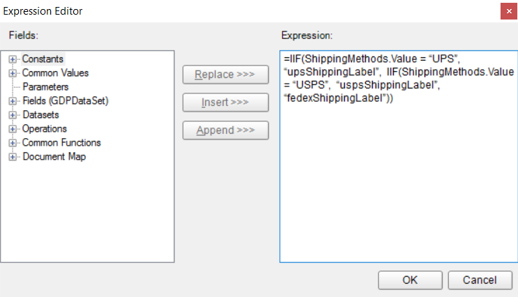 ActiveReports Expression Editor showing a conditional expression to determine which report to jump to.
