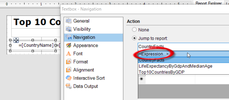 ActiveReports Property dialog with the Navigation tab selected and the Jump to report option dropped down.